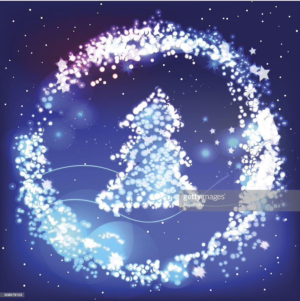 Christmas vector greeting card with shiny tree : Vektorgrafik