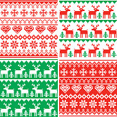Xmas repetitive background set in red and blue, reindeer and snowflakes decoration