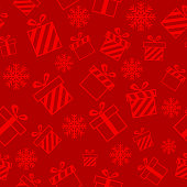 Christmas vector seamless pattern with gift boxes on red background. New year vector design. Wrapping paper for Christmas gift boxes, birthday, wedding and other holidays