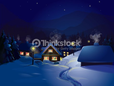 christmas winter landscape of a house snow scene at night vector art