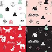 Christmas, winter seamless patterns set, hand drawn elements in Scandinavian style