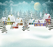 Village winter landscape with snow covered houses and  christmas tree with decorations