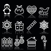 Vector black icons set for celebrating Xmas isolated on black