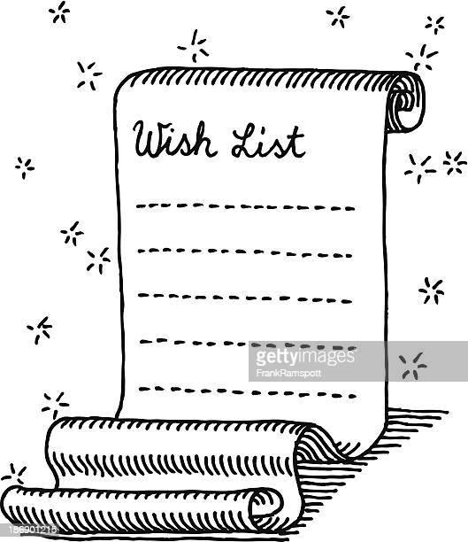 La liste de souhaits de Noël bouclés Papier à dessin