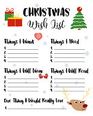 Cute Christmas Wish List template for kids.