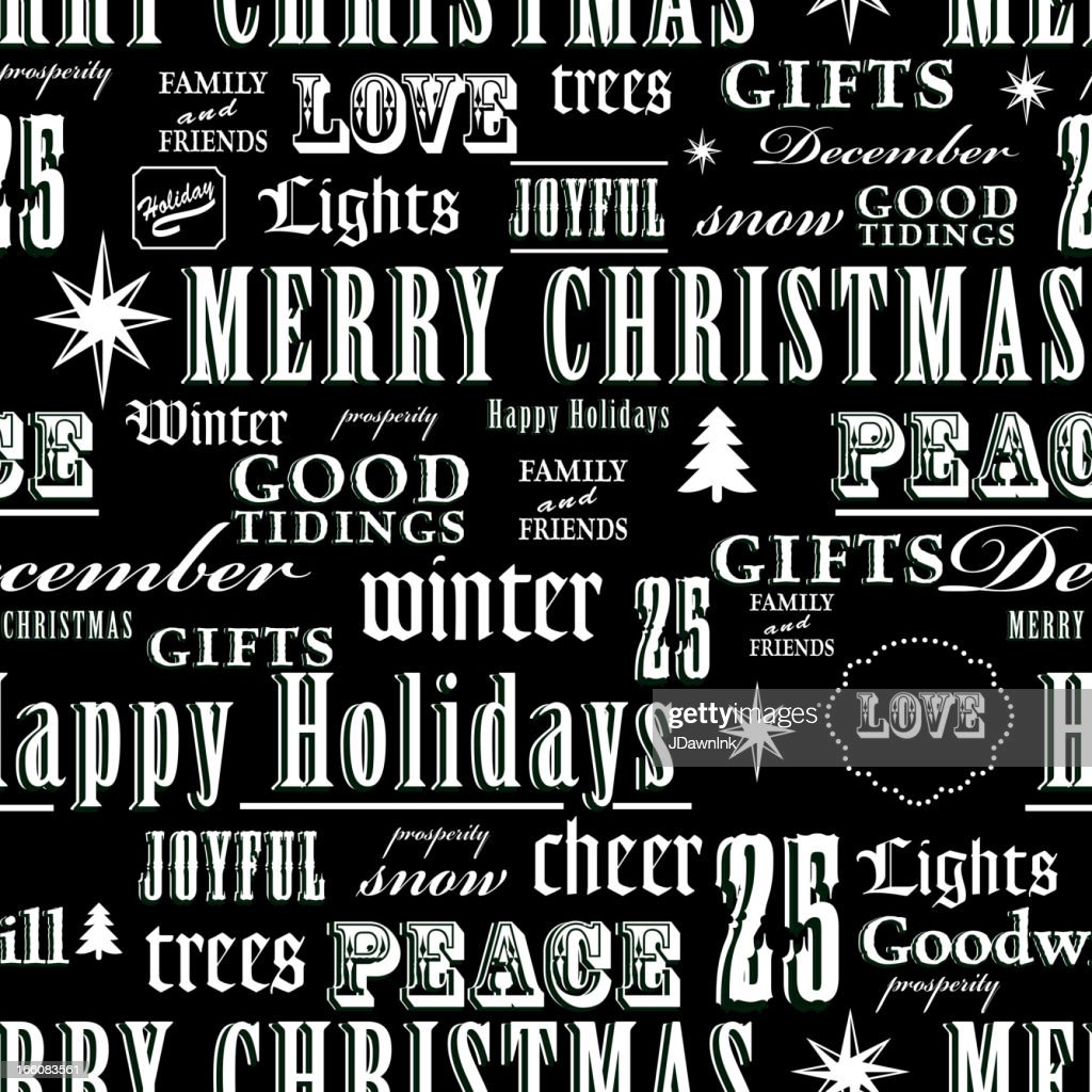Christmas words repeat seamless pattern background : Vector Art