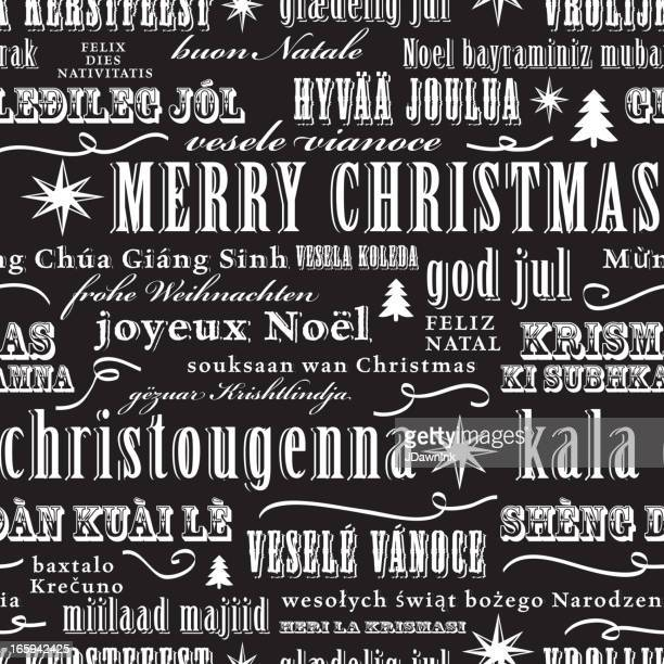 Christmas words - mulit-language repeat seamless pattern background