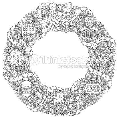 Corona De Navidad Para Colorear Página Del Libro Arte vectorial ...