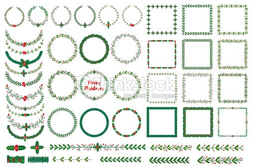 Christmas wreath, frames, brushes : stock vector
