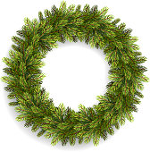 Christmas wreath isolated on white. Vector illustration
