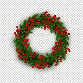 Christmas wreath of realistic Christmas tree branches and holly berries Element for festive design isolated on transparent background Vector illustration