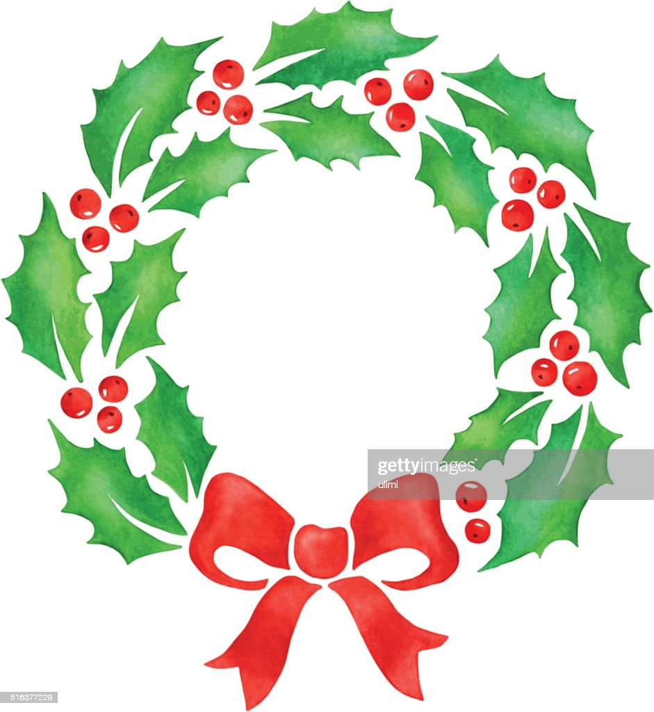 christmas wreath vector art getty images