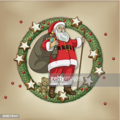 Christmas wreath with Santa Clause, bag, toys and cookies : Vectorkunst
