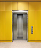 Chrome metal office building elevator doors. Open and closed variant. Realistic vector illustration yellow wall office building elevator.