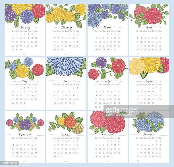 2017 Chrysanthemum Floral Desk Pad Calendar Set