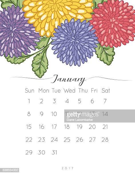 2017 Chrysanthemum Floral Desk Pad Calendar
