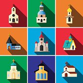Church flat icon set illustration isolated vector sign symbol