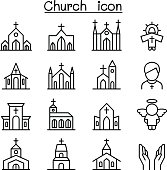 Church icon set in thin line style