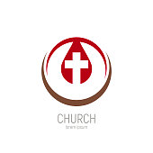 Church logo. A drop of Jesus blood with a cross in it. Vector illustration