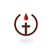 Church logo. A drop of the blood of Jesus drips onto the cross. Vector illustration
