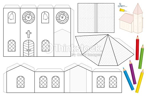 Church Paper Craft Sheet Unpainted Cutout Template For Children For