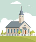 Cute church illustration with cloud sky. Global colors used easy to edit.