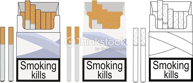 Cigarette Pack Icons Color No Outline Linea Vector Art | Thinkstock