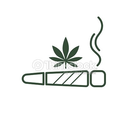 Cigarette With Drug Marijuana Cigarette Rolled With A Leaf Of