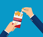 Cigarettes in hand man. Smoker holding open pack of cigarettes. Dangers of smoking. Vector illustration in flat style