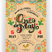 Text customized for invitation for fiesta party. Mexican style rich ornamented border and background. Vector illustration.