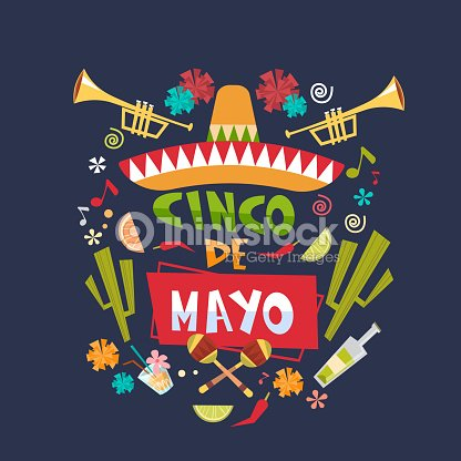 Cinco De Mayo Background Mexican Holiday Greeting Card Or Poster Design Vector Art