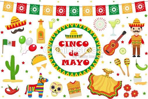 1a3569dbeacc Cinco de Mayo celebration au Mexique, ensemble d icônes, élément de design,