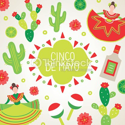 Cinco de mayo greeting card with dancing woman cactus tequila vector cinco de mayo greeting card with dancing woman cactus tequila vector art m4hsunfo