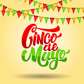 Cinco de mayo. Lettering phrase on background with carnival flags. Design element for poster, flyer, card. Vector illustration