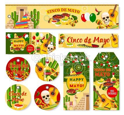 Cinco De Mayo Mexican Holiday Fiesta Vector Tags Vector Art | Thinkstock