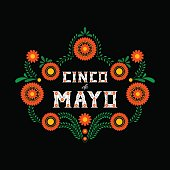Cinco de Mayo typography banner vector. Mexico design for fiesta cards or party invitation and poster. Flowers traditional mexican embroidery frame with floral letters on black background.