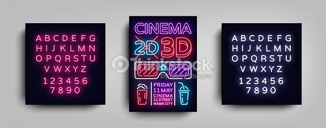 cinema 3d poster design template neon style neon sign light banner