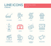 Set of modern vector simple plain line design icons and pictograms of cinema and movie production. 3d glasses, film, pop corn, camera, award, ticket, movie hall, clapperboard, roll, comedy, tragedy, m