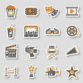 Cinema and Movie two color sticker Icons Set with popcorn, award, clapperboard, tickets and 3D glasses. vector illustration