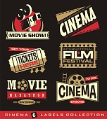 Cinema and movies set of labels, emblems, banners and design elements.  Vector cinema illustration creative stickers and signs collection.