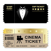 Cinema, Business vip tickets isolated on white background. Coupon icon. Vector illustration.