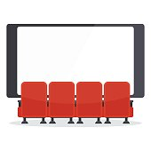 Row of comfortable red sits in front of a cinema screen. Flat vector cartoon illustration. Objects isolated on a white background.