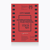 Cinema festival poster template. Vector illustration.