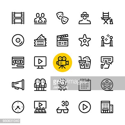 Cinema, film industry, video production line icons set. Modern graphic design concepts, simple outline elements collection. 32x32 px. Pixel perfect. Vector line icons : stock vector