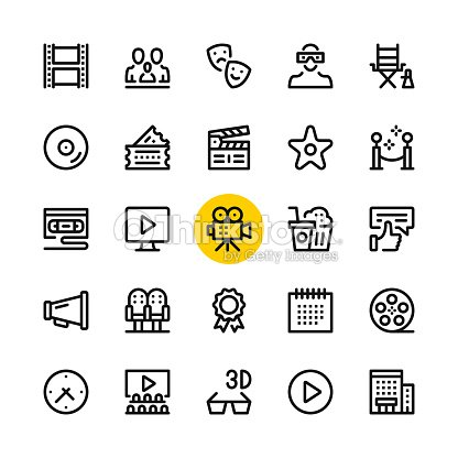 Cinema, film industry, video production line icons set. Modern graphic design concepts, simple outline elements collection. 32x32 px. Pixel perfect. Vector line icons : arte vettoriale
