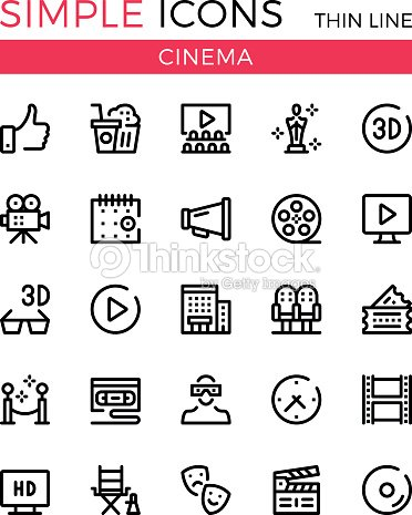 Cinema, filmmaking, cinematography, film production vector thin line icons set. 32x32 px. Modern line graphic design for websites, web design, etc. Pixel perfect vector outline icons set : arte vettoriale
