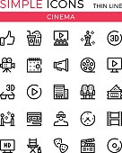 Cinema, filmmaking, cinematography, film production vector thin line icons set. 32x32 px. Line graphic design for websites, web design, mobile app, infographics. Pixel perfect vector outline icons set