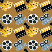 Cinema genre cinematography seamless pattern background flat entertainment movie production vector illustration. Film motion picture cine movies premiere colorful design.