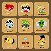 Cinema genre icons set cinematography flat entertainment comedy drama thriller movie production symbol vector illustration. Film motion picture cine movies premiere colorful design.