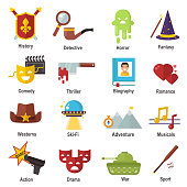 Cinema genre icons set cinematography flat entertainment comedy, drama, thriller movie production symbol vector illustration.. Film motion picture cine movies premiere colorful design.